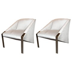 French Mid-Century Modern Lounge Chairs in Platinum Velvet by Andrée Putman