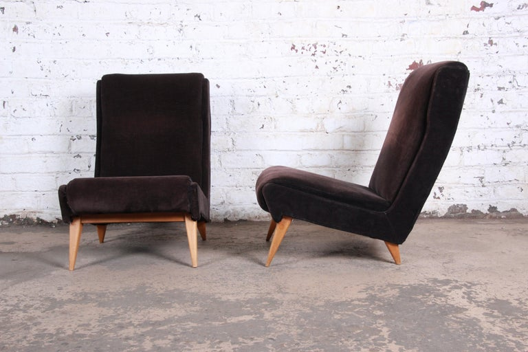French Mid-Century Modern Low Lounge Chairs, 1950s In Good Condition For Sale In South Bend, IN