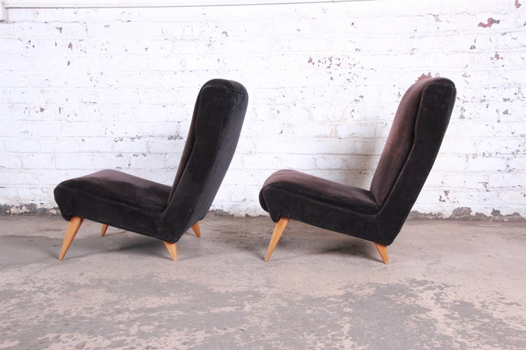 Mid-20th Century French Mid-Century Modern Low Lounge Chairs, 1950s For Sale