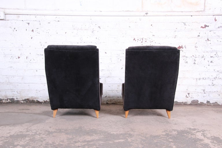 Velvet French Mid-Century Modern Low Lounge Chairs, 1950s For Sale
