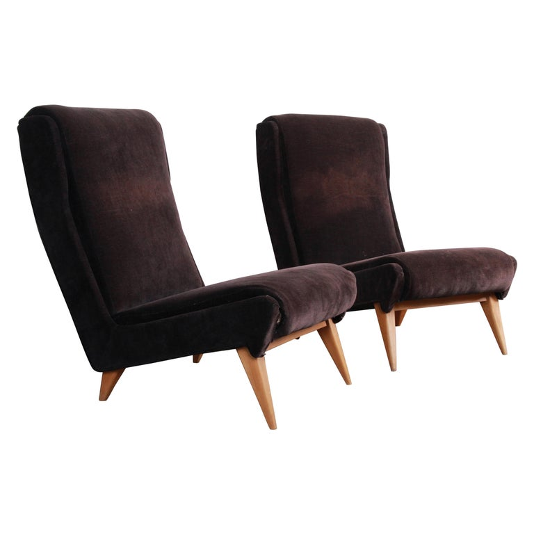 French Mid-Century Modern Low Lounge Chairs, 1950s For Sale
