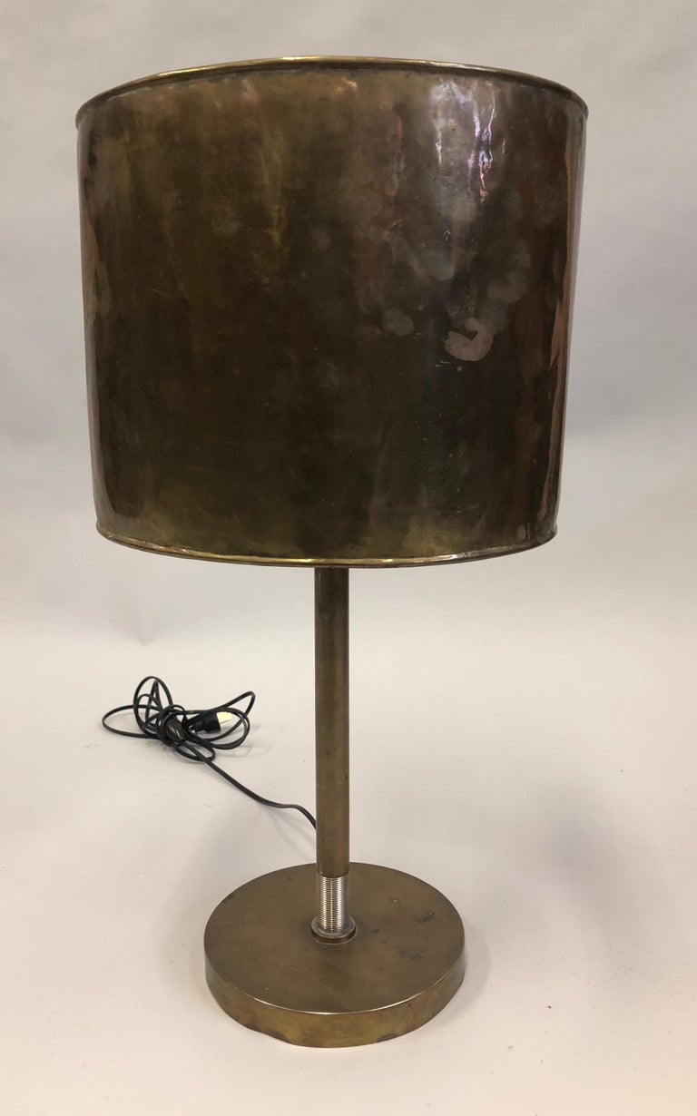 20th Century French Mid-Century Modern Marine Brass Table Lamp with Brass Shade For Sale