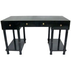 French Mid-Century Modern Neoclassical Black Lacquer Desk by Maison Jansen