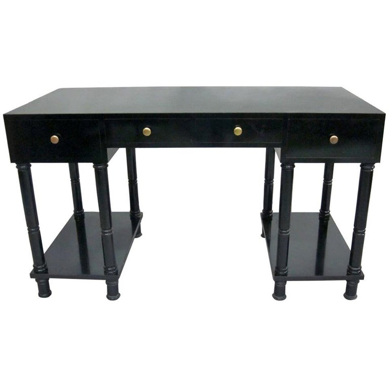 French Mid-Century Modern Neoclassical Black Lacquer Desk by Maison Jansen For Sale