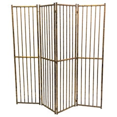 French Mid-Century Modern Neoclassical Faux Bamboo Gilt Iron Screen by Bagues