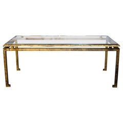 French Mid-Century Modern Neoclassical, Gilt Iron Coffee Table by Maison Ramsay