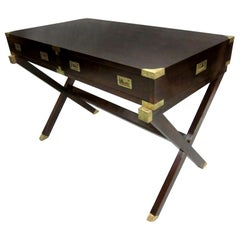 French Mid-Century Modern Neoclassical Mahogany Campaign Desk by Maison Jansen