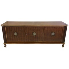French Art Deco / Modern Neoclassical Mahogany Sideboard Signed by Jules Leleu