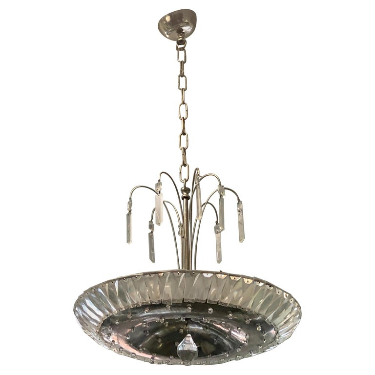French Mid-Century Modern Neoclassical Nickel and Crystal Chandelier / Pendant For Sale