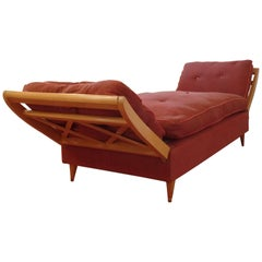 French Mid-Century Modern Neoclassical Sofa or Day Bed Attributed Jean Royère