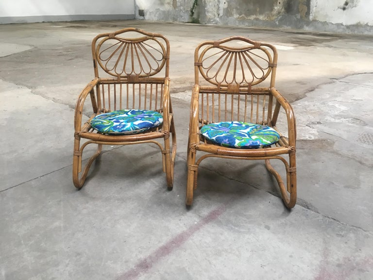 Mid-Century Modern pair of French Riviera bamboo armchairs. 