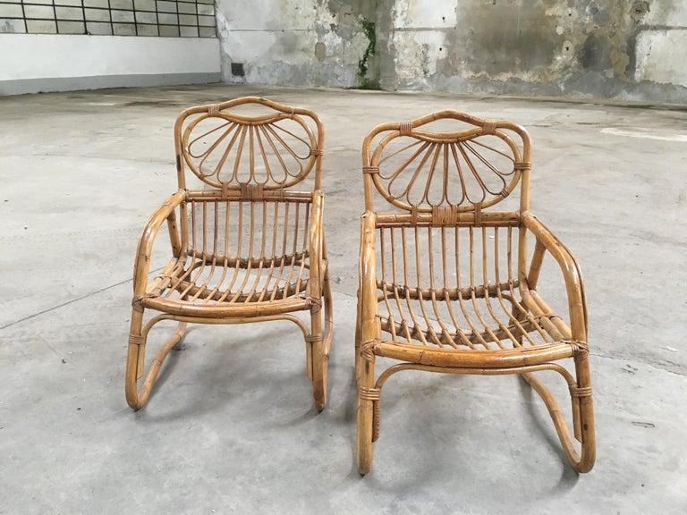 French Mid-Century Modern Pair of Bamboo Armchairs, 1970s In Good Condition For Sale In Prato, IT