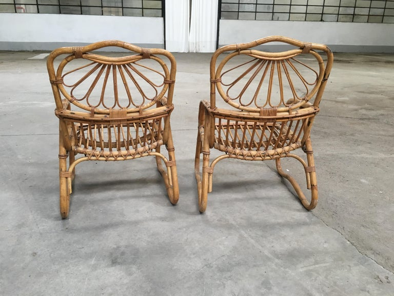 French Mid-Century Modern Pair of Bamboo Armchairs, 1970s For Sale 1