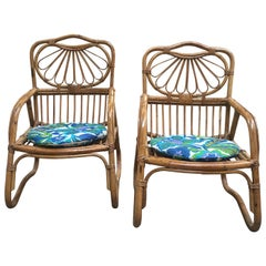 French Mid-Century Modern Pair of Bamboo Armchairs, 1970s