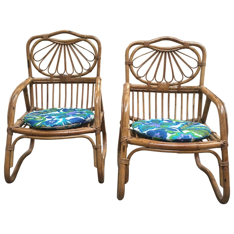 French Mid-Century Modern Pair of Bamboo Armchairs, 1970s For Sale