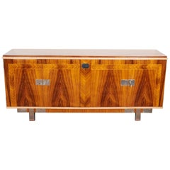 French Mid-Century Modern Palisander Cabinet with Blonde and Nickeled Accents
