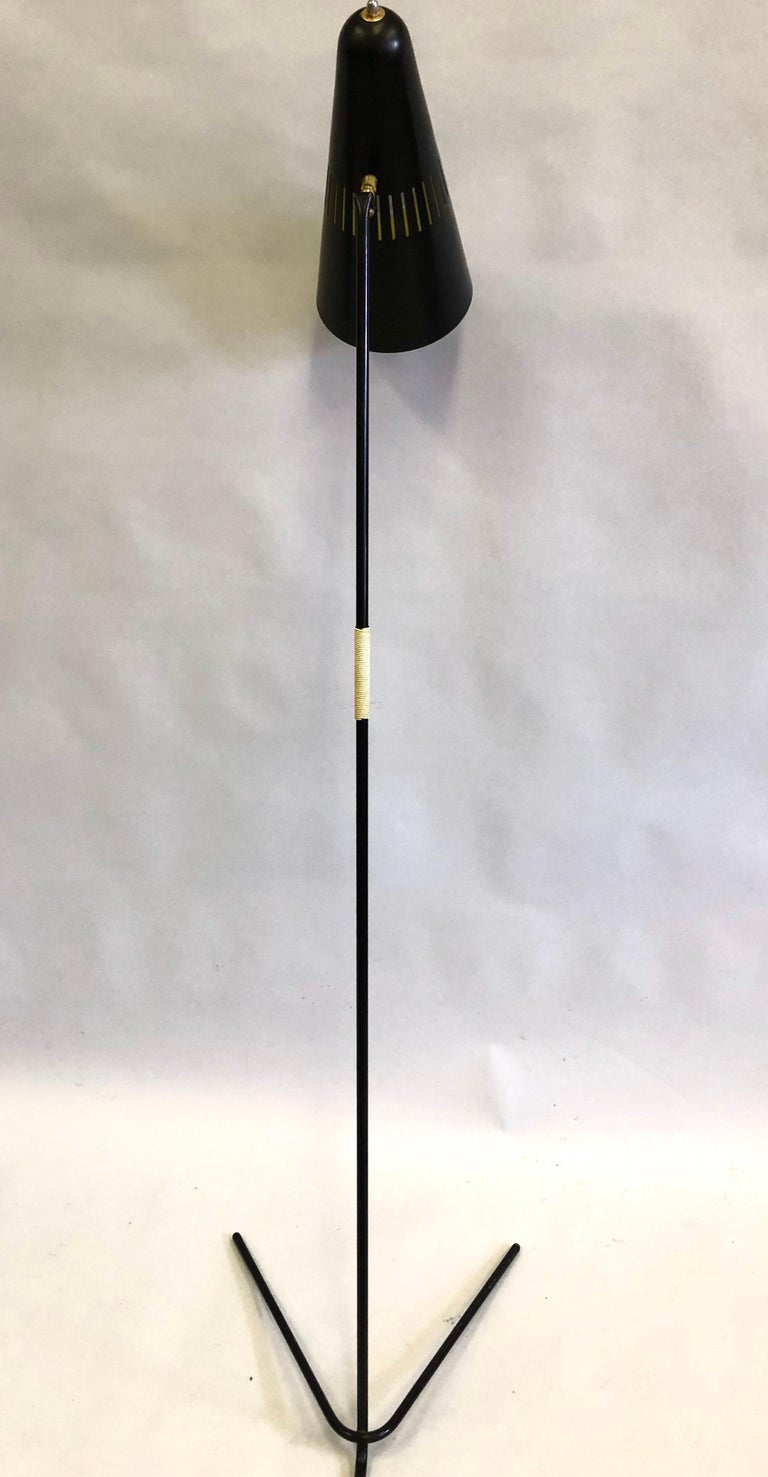 Metal French Mid-Century Modern Prototype Floor Lamp, Serge Mouille & Pierre Guariche For Sale
