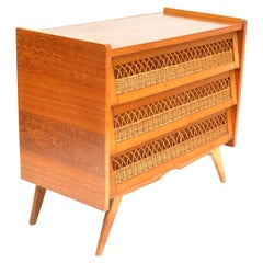 French Mid-Century Modern Rattan and Wood Commode Dresser