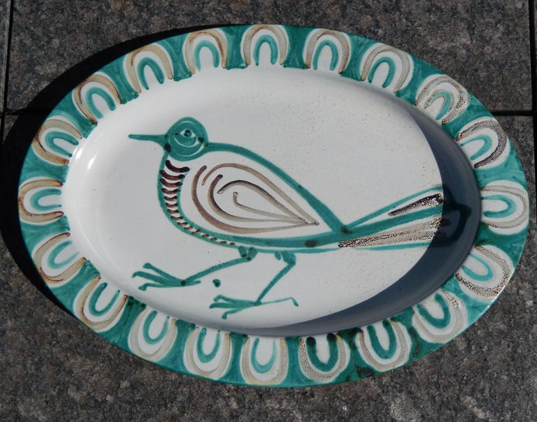 Glazed French Mid-Century Modern Robert Picault Ceramic Charger For Sale