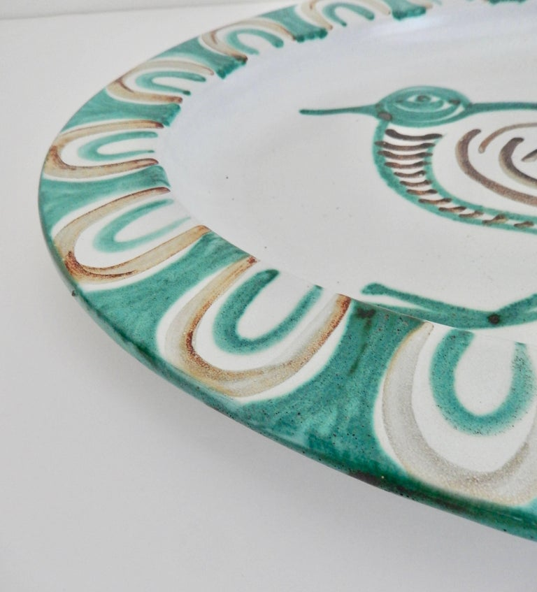 Mid-20th Century French Mid-Century Modern Robert Picault Ceramic Charger For Sale