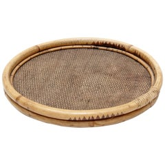 French Mid-Century Modern Round Rattan Tray, circa 1950