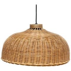 French Mid-Century Modern Rustic Rattan Ceiling Lamp, circa 1960