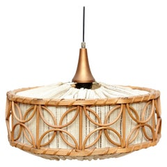 French Mid-Century Modern Rustic Rattan Ceiling Lamp, circa 1960