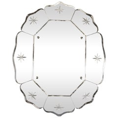 French Mid-Century Modern Scalloped & Beveled Etched Octagonal Wall Mirror