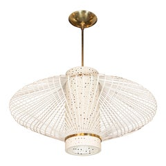 French Mid-Century Modern Sculptural Perforated Enamel and Brass Chandelier