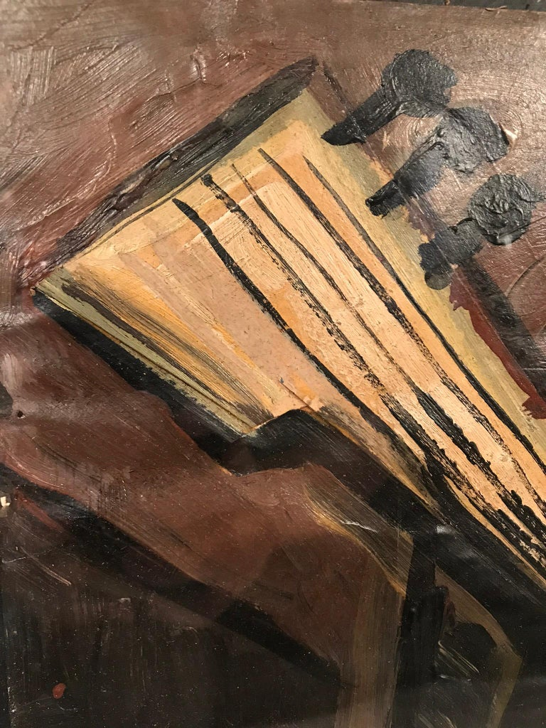 This painting of a guitar provides a simplistic interest to the viewer with it's different lines, shapes and brush strokes. It's signed J. Lacoste.