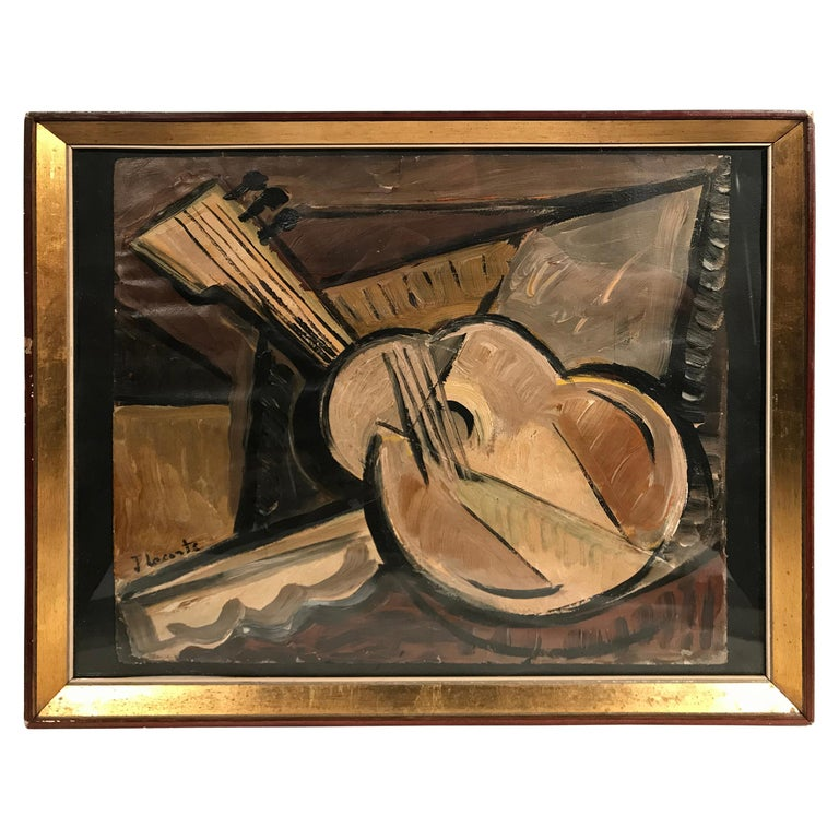 French Mid-Century Modern Signed Cubist Oil Painting For Sale
