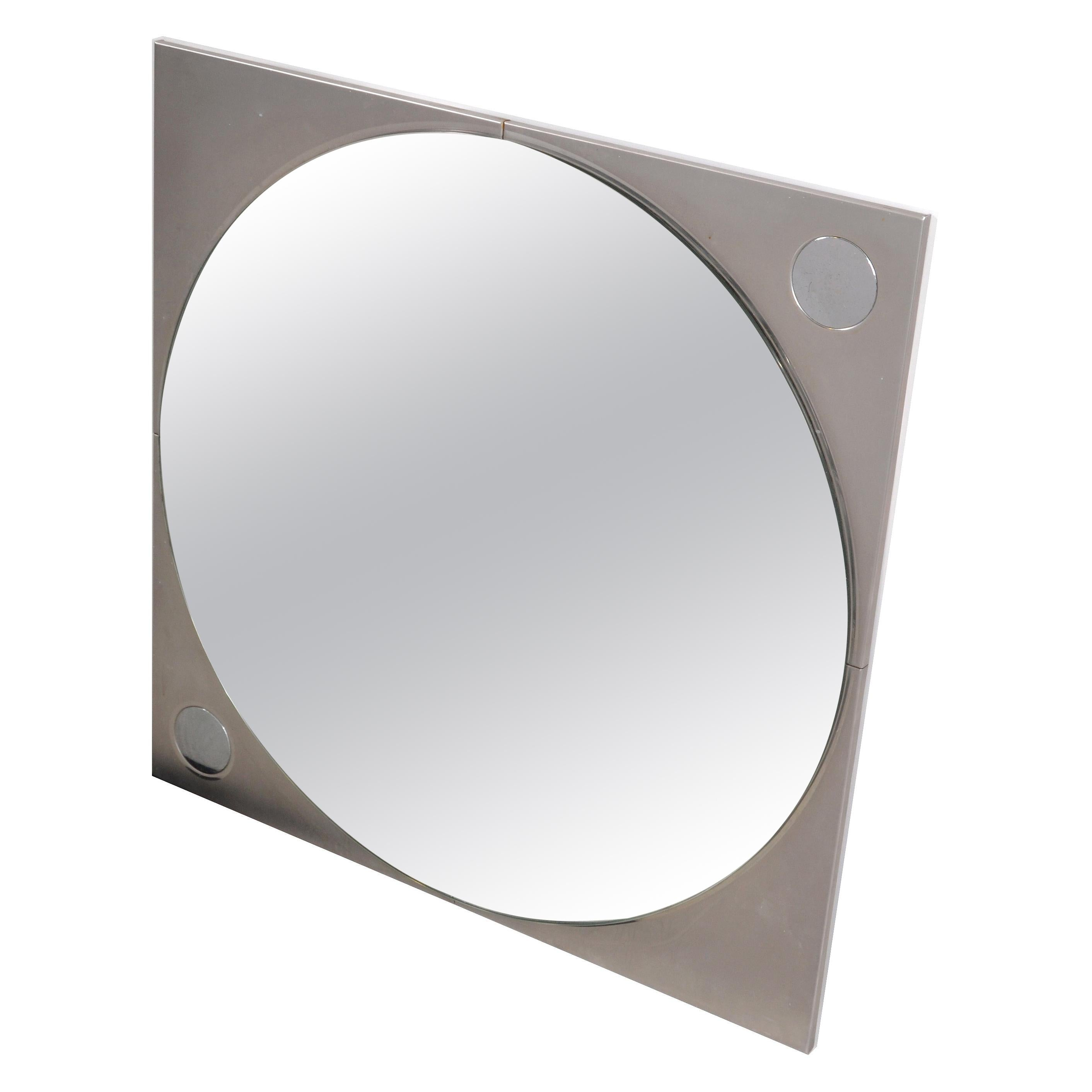 French Mid-Century Modern Square Chrome Wall Mirror/ Convex Style Mirror