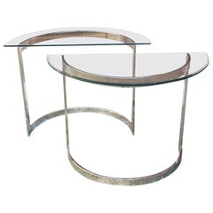French Mid-Century Modern Steel Consoles with Glass Top, 1970s