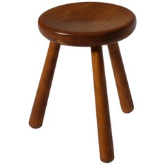 French Mid-Century Modern Stool in Solid Pine