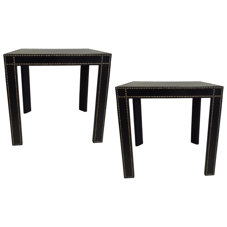 French Mid-Century Modern Studded Black Leather End Tables Pierre Lottier, Pair For Sale
