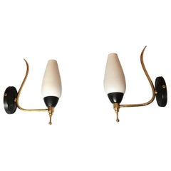 French Mid-Century Modern Style Black Gilt Brass Sconces, 1950