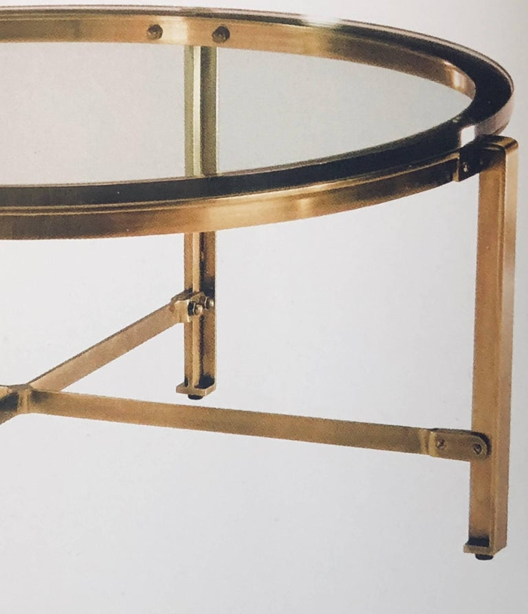 French Mid Century Modern Style Round Antique Solid Brass Coffee Table In The Of