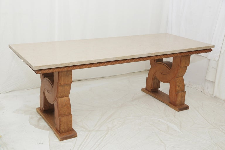 Neoclassical French Midcentury Natural Beige Comblanchien Stone and Carved Oak Base Table For Sale