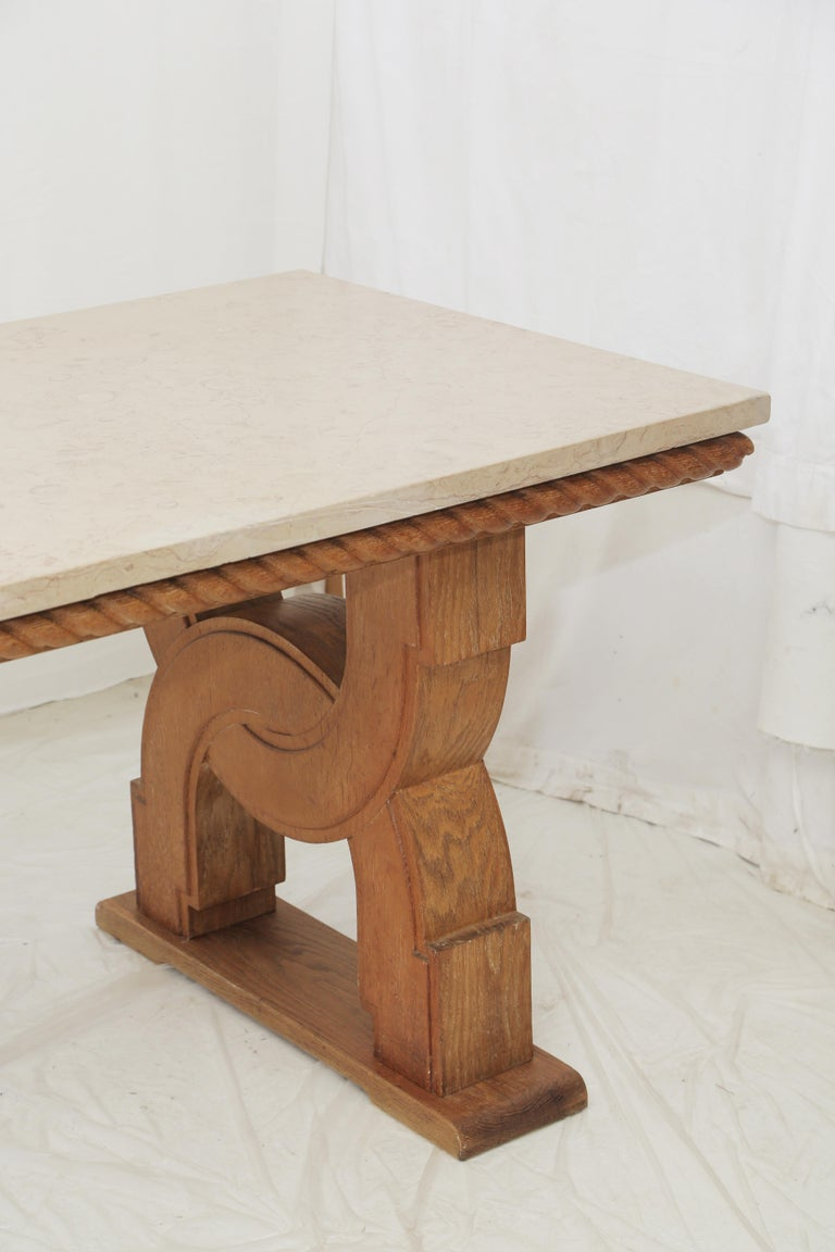 French Midcentury Natural Beige Comblanchien Stone and Carved Oak Base Table In Good Condition For Sale In Miami, FL