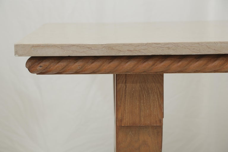 Mid-20th Century French Midcentury Natural Beige Comblanchien Stone and Carved Oak Base Table For Sale