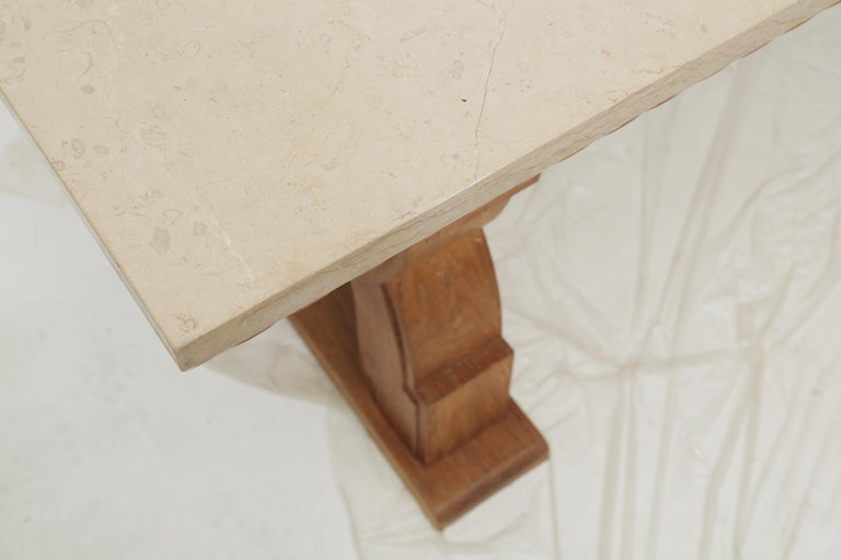 French Midcentury Natural Beige Comblanchien Stone and Carved Oak Base Table For Sale 1