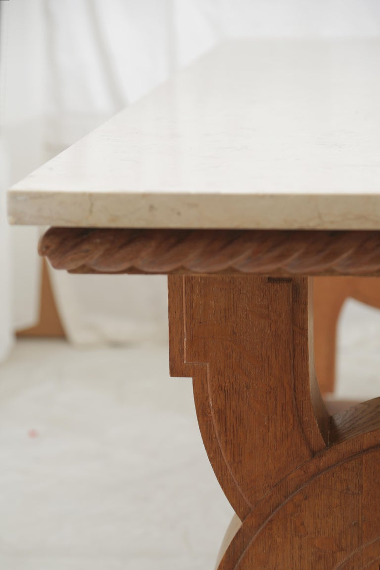 French Midcentury Natural Beige Comblanchien Stone and Carved Oak Base Table For Sale 4