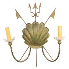 French Midcentury Nautical Brass Shell Wall Sconce