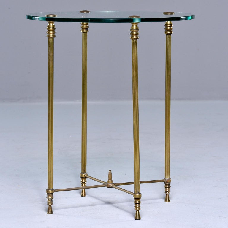 French Mid Century Neoclassical Style Brass and Glass Side Table In Good Condition For Sale In Troy, MI