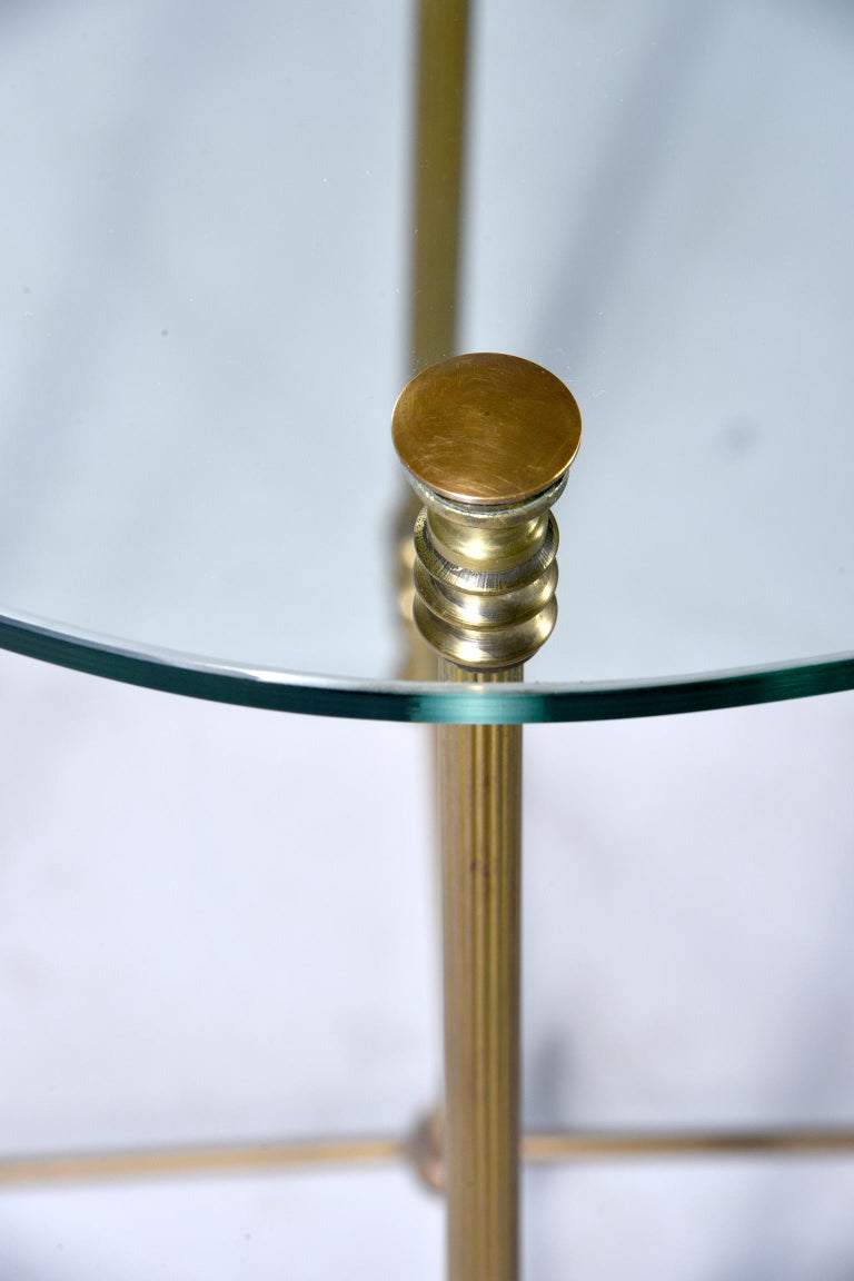 20th Century French Mid Century Neoclassical Style Brass and Glass Side Table For Sale