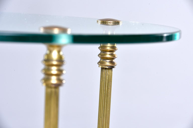French Mid Century Neoclassical Style Brass and Glass Side Table For Sale 1