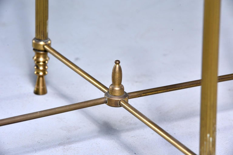 French Mid Century Neoclassical Style Brass and Glass Side Table For Sale 2