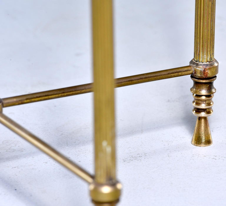 French Mid Century Neoclassical Style Brass and Glass Side Table For Sale 5