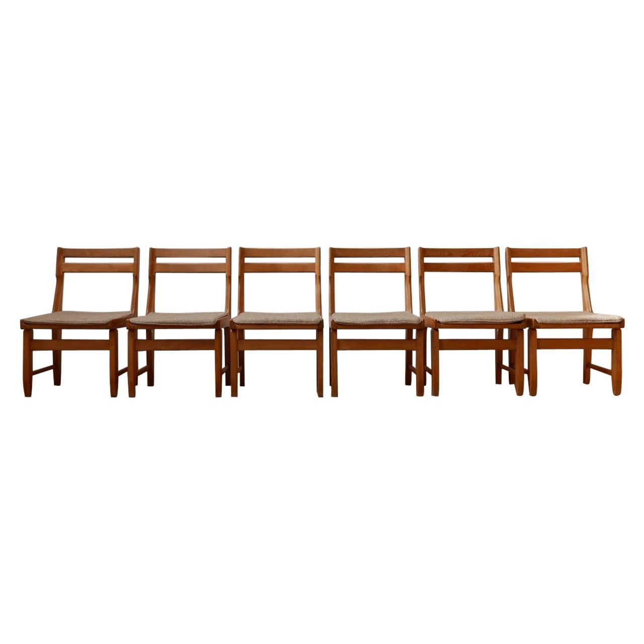 French Mid-Century Oak Dining Chairs by Guillerme et Chambron