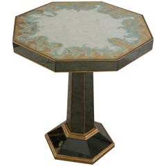 French Midcentury Octagonal Ebonized Églomisé Pedestal End / Side Table